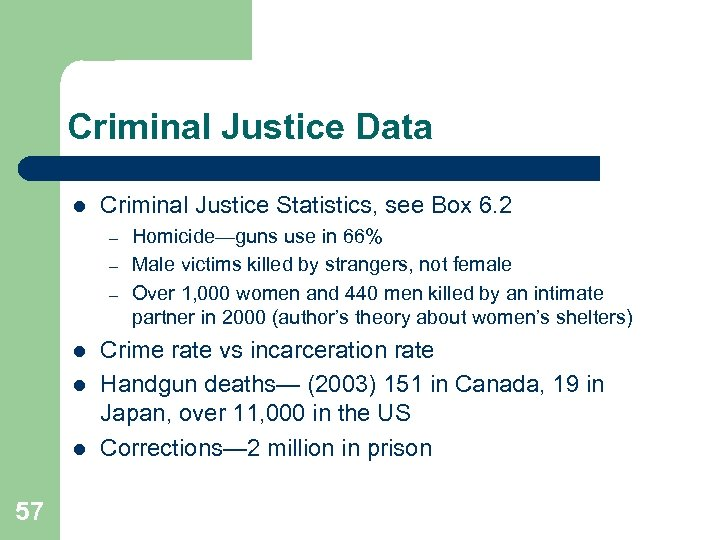 Criminal Justice Data l Criminal Justice Statistics, see Box 6. 2 – – –