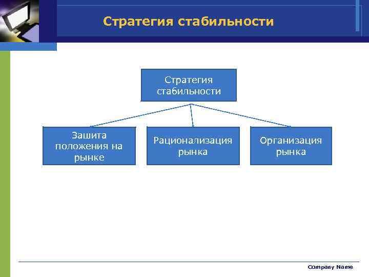 Стратегия стабильности Зашита положения на рынке Рационализация рынка Организация рынка Company Name