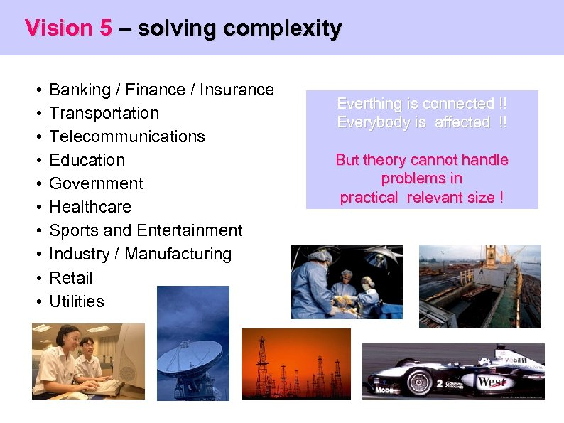 Vision 5 – solving complexity • • • Banking / Finance / Insurance Transportation