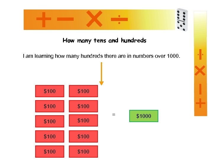 How many tens and hundreds I am learning how many hundreds there are in