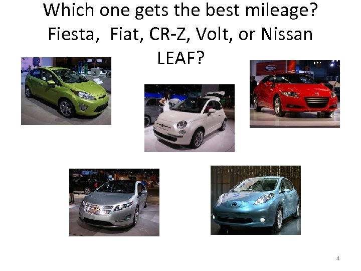 Which one gets the best mileage? Fiesta, Fiat, CR-Z, Volt, or Nissan LEAF? 4