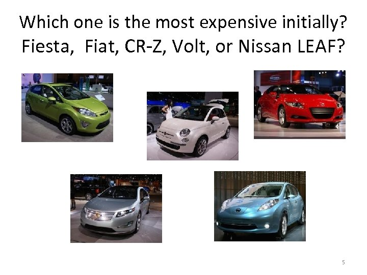 Which one is the most expensive initially? Fiesta, Fiat, CR-Z, Volt, or Nissan LEAF?