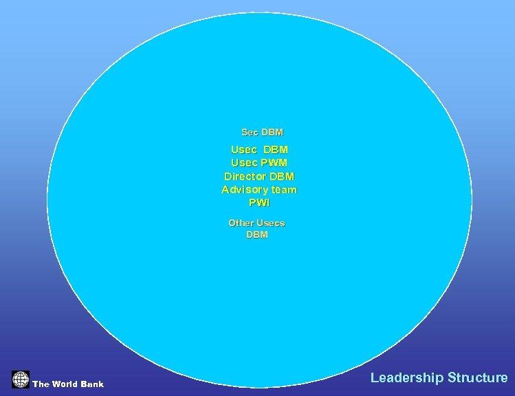 Sec DBM Usec PWM Director DBM Advisory team PWI Other Usecs DBM The World