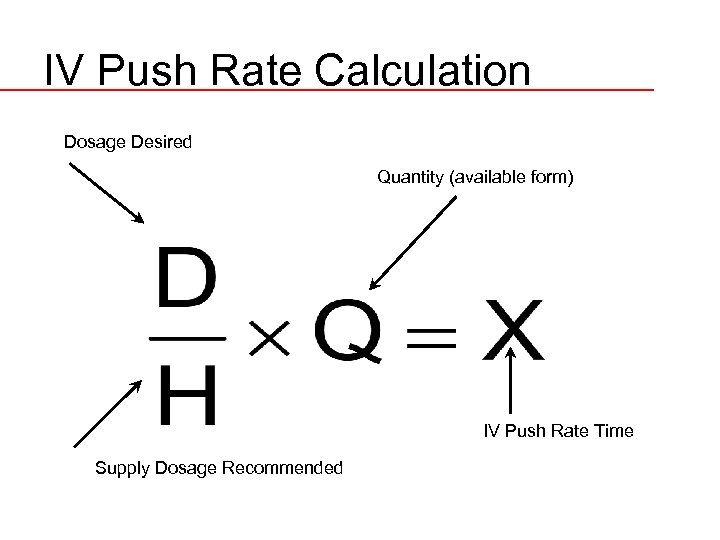 IV Push Rate Calculation Dosage Desired Quantity (available form) IV Push Rate Time Supply