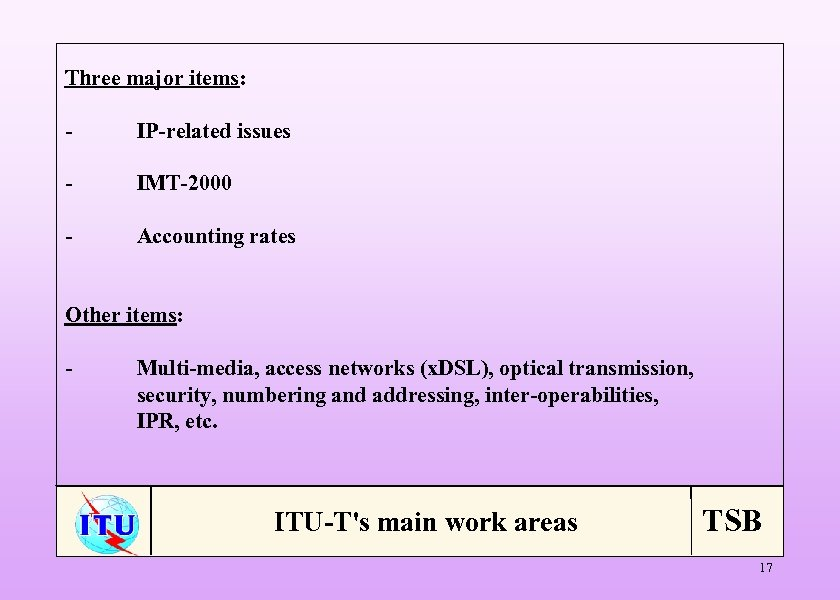 Three major items: - IP-related issues - IMT-2000 - Accounting rates Other items: -