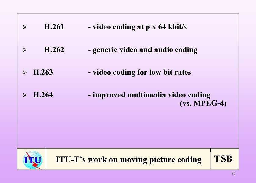 Ø H. 261 - video coding at p x 64 kbit/s Ø H. 262