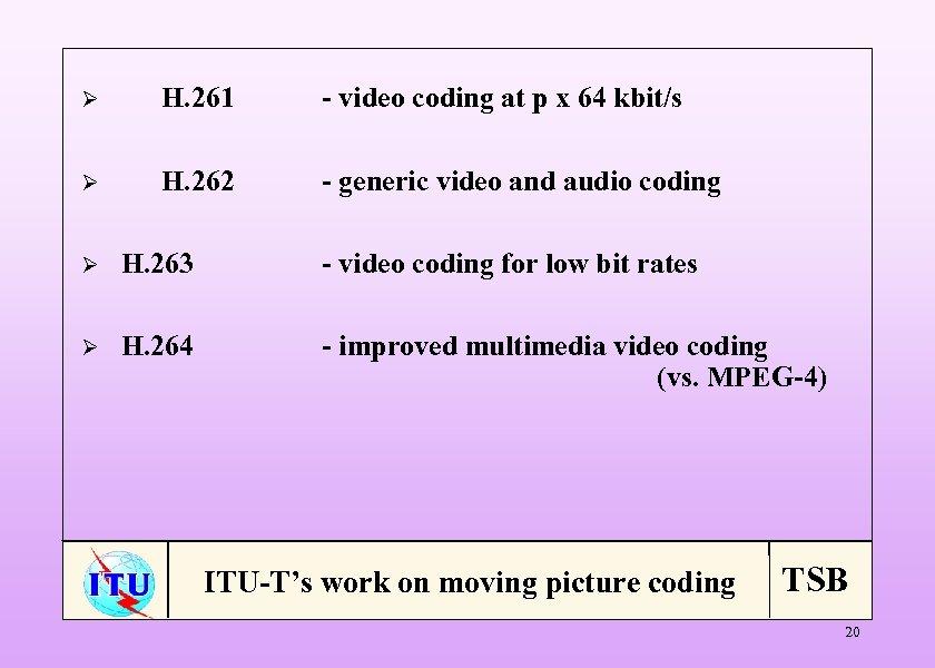 Ø H. 261 - video coding at p x 64 kbit/s Ø H. 262