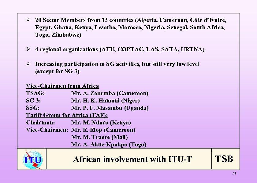 Ø 20 Sector Members from 13 countries (Algeria, Cameroon, Côte d'Ivoire, Egypt, Ghana, Kenya,