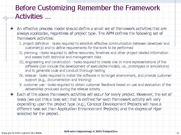 Before Customizing Remember the Framework Activities … An effective process model should define a