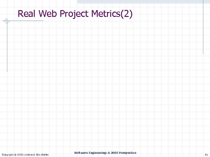 Real Web Project Metrics(2) Copyright © 2002 Linda and Don Shafer Software Engineering: A
