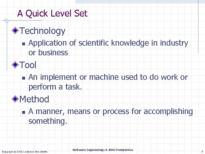A Quick Level Set Technology n Application of scientific knowledge in industry or business