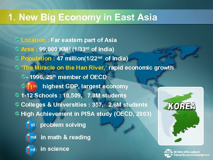 1. New Big Economy in East Asia Location : Far eastern part of Asia