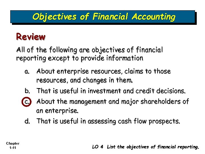 Objectives of Financial Accounting Review All of the following are objectives of financial reporting
