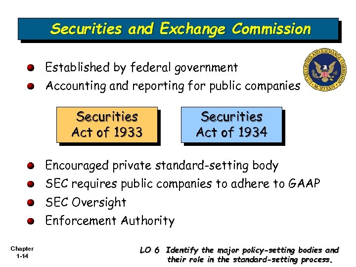 Securities and Exchange Commission Established by federal government Accounting and reporting for public companies
