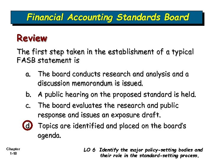 Financial Accounting Standards Board Review The first step taken in the establishment of a