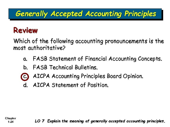Generally Accepted Accounting Principles Review Which of the following accounting pronouncements is the most