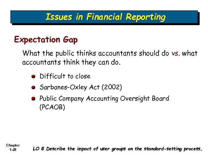 Issues in Financial Reporting Expectation Gap What the public thinks accountants should do vs.