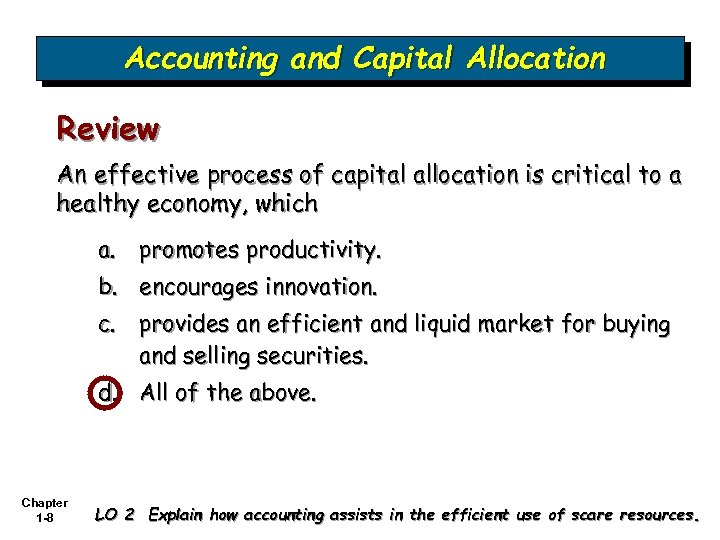 Accounting and Capital Allocation Review An effective process of capital allocation is critical to