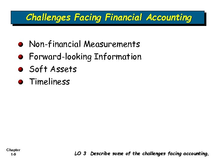 Challenges Facing Financial Accounting Non-financial Measurements Forward-looking Information Soft Assets Timeliness Chapter 1 -9
