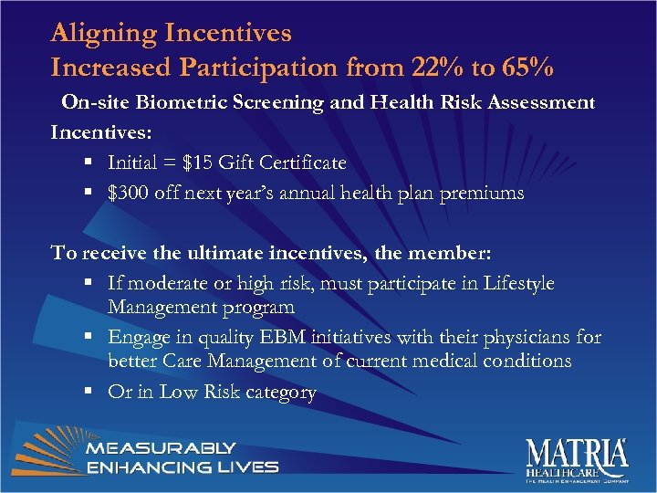 Aligning Incentives Increased Participation from 22% to 65% On-site Biometric Screening and Health Risk