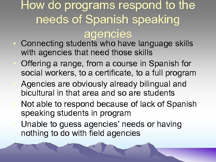 How do programs respond to the needs of Spanish speaking agencies • Connecting students