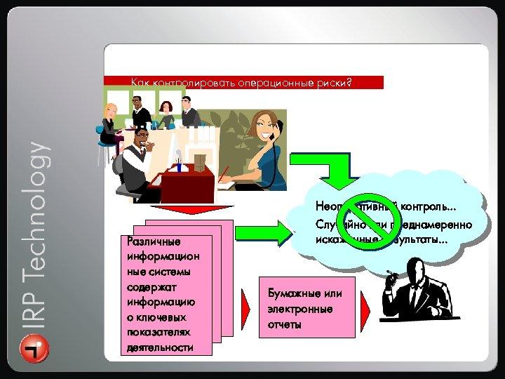 Интеграция Как контролировать операционные риски? Различные информацион ные системы содержат информацию о ключевых показателях