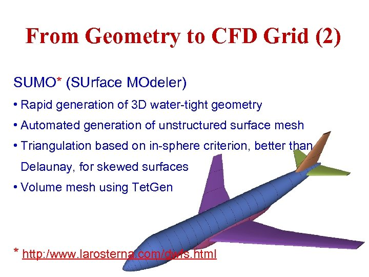 From Geometry to CFD Grid (2) SUMO* (SUrface MOdeler) • Rapid generation of 3