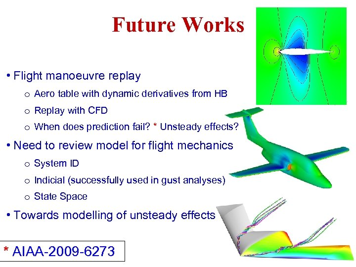 Future Works • Flight manoeuvre replay o Aero table with dynamic derivatives from HB