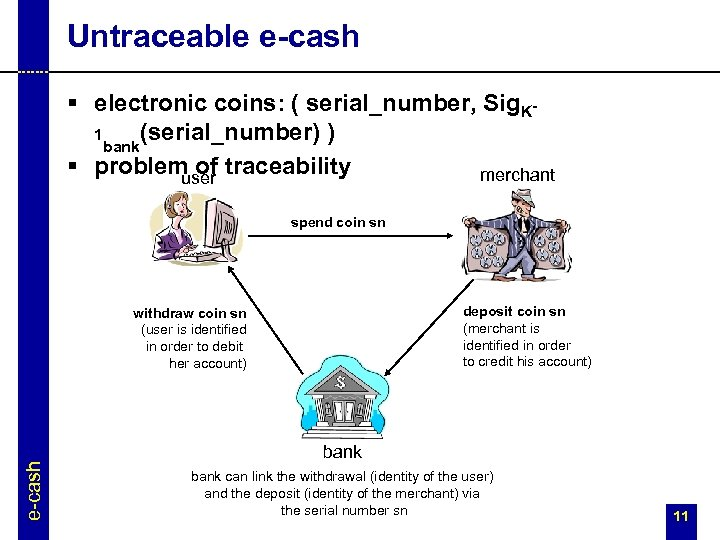 Untraceable e-cash § electronic coins: ( serial_number, Sig. K(serial_number) ) 1 bank § problem