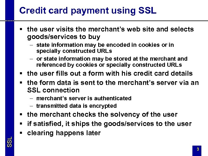 Credit card payment using SSL § the user visits the merchant's web site and