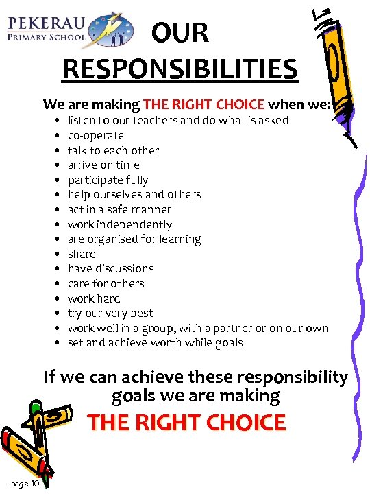OUR RESPONSIBILITIES We are making THE RIGHT CHOICE when we: • • • •