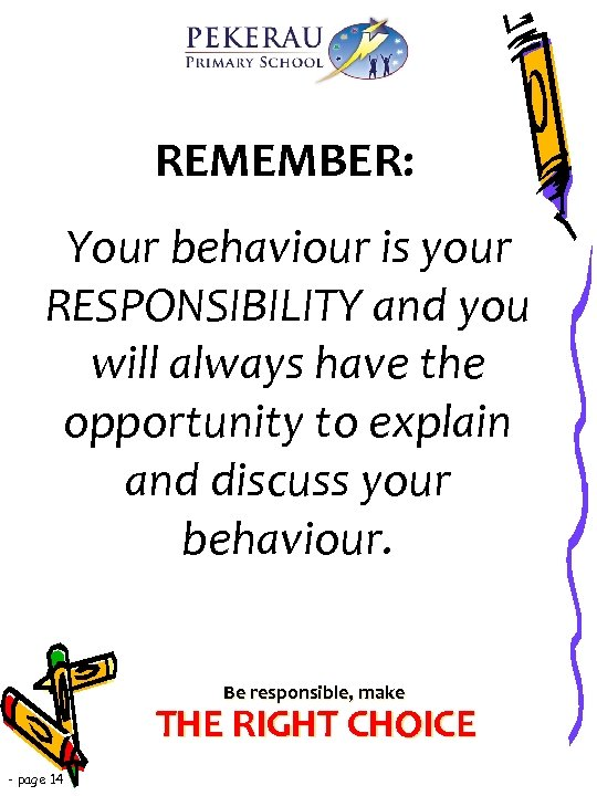REMEMBER: Your behaviour is your RESPONSIBILITY and you will always have the opportunity to