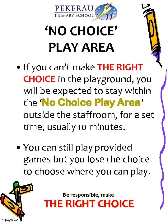 'NO CHOICE' PLAY AREA • If you can't make THE RIGHT CHOICE in the