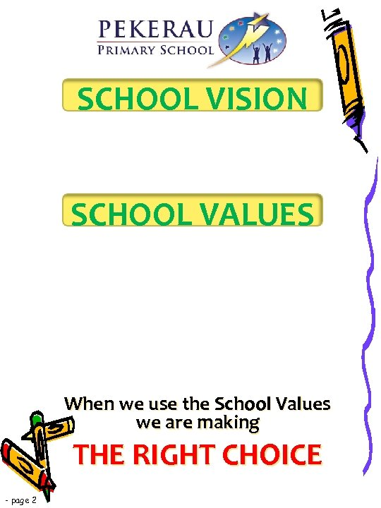 SCHOOL VISION SCHOOL VALUES When we use the School Values we are making THE