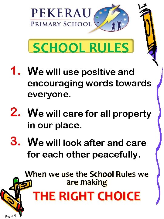 SCHOOL RULES 1. We will use positive and encouraging words towards everyone. 2. We