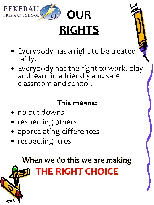 OUR RIGHTS • Everybody has a right to be treated fairly. • Everybody has