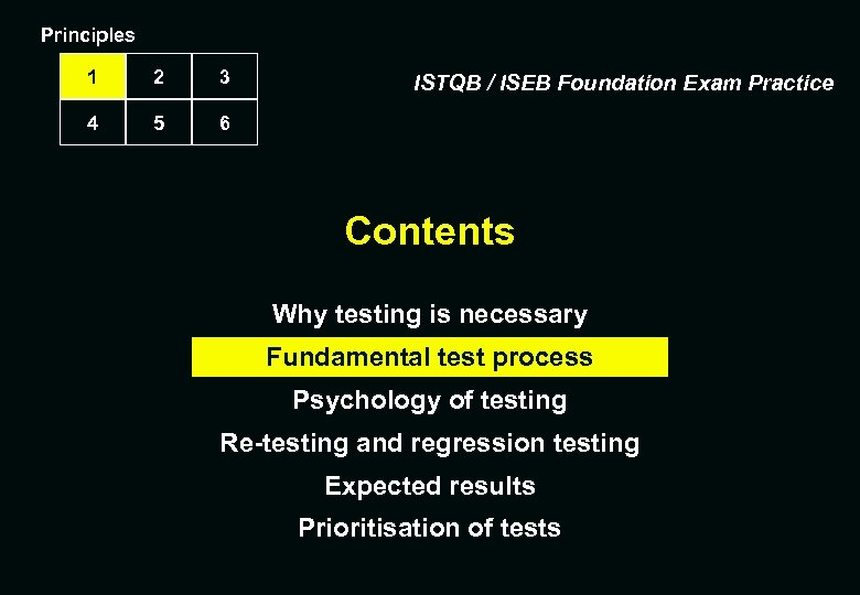 Principles 1 2 3 4 5 6 ISTQB / ISEB Foundation Exam Practice Contents