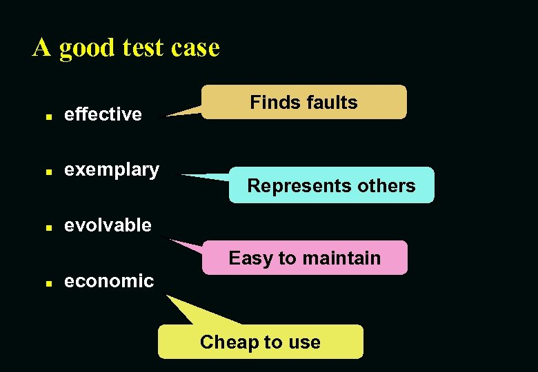 A good test case n effective n exemplary n Finds faults evolvable Represents others