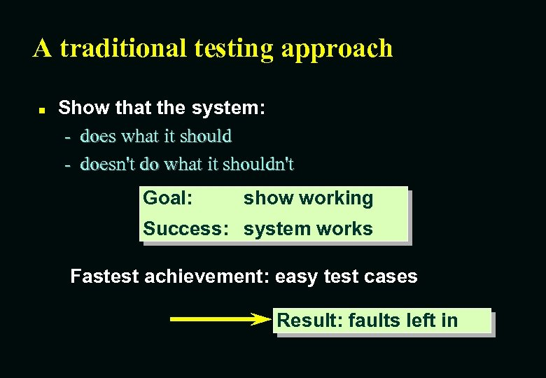 A traditional testing approach n Show that the system: - does what it should