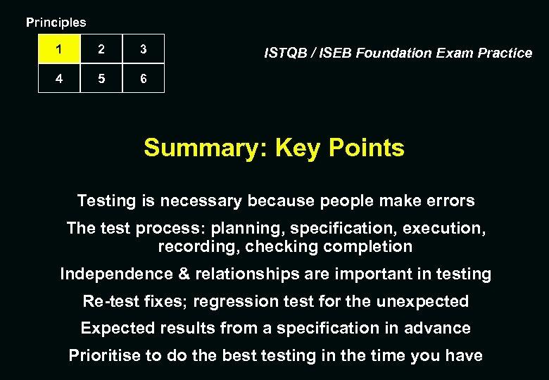 Principles 1 2 3 4 5 6 ISTQB / ISEB Foundation Exam Practice Summary: