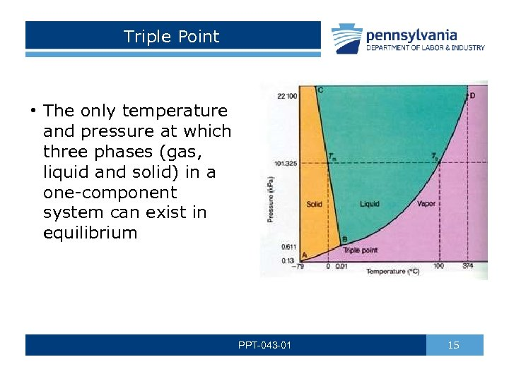 Triple Point • The only temperature and pressure at which three phases (gas, liquid