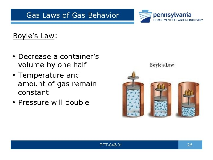 Gas Laws of Gas Behavior Boyle's Law: • Decrease a container's volume by one