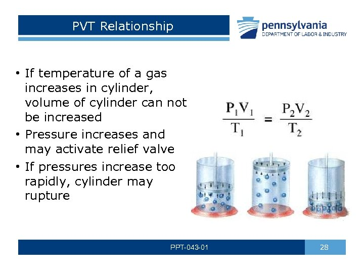 PVT Relationship • If temperature of a gas increases in cylinder, volume of cylinder