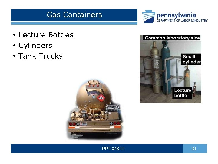 Gas Containers • Lecture Bottles • Cylinders • Tank Trucks PPT-043 -01 31