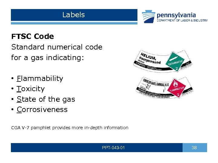Labels FTSC Code Standard numerical code for a gas indicating: • • Flammability Toxicity