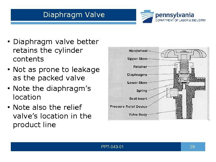 Diaphragm Valve • Diaphragm valve better retains the cylinder contents • Not as prone