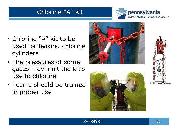 "Chlorine ""A"" Kit • Chlorine ""A"" kit to be used for leaking chlorine cylinders"