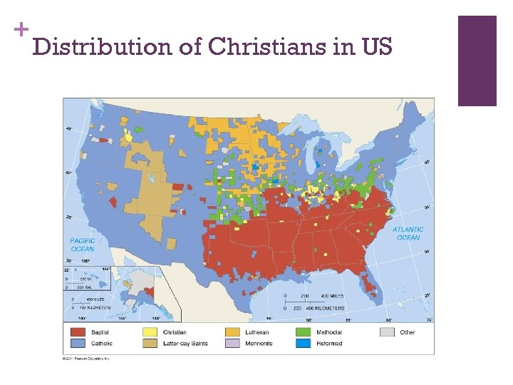 + Distribution of Christians in US