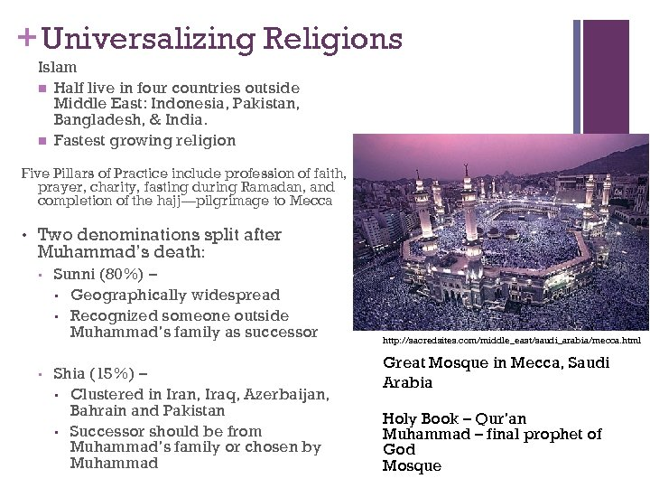 + Universalizing Religions Islam n Half live in four countries outside Middle East: Indonesia,