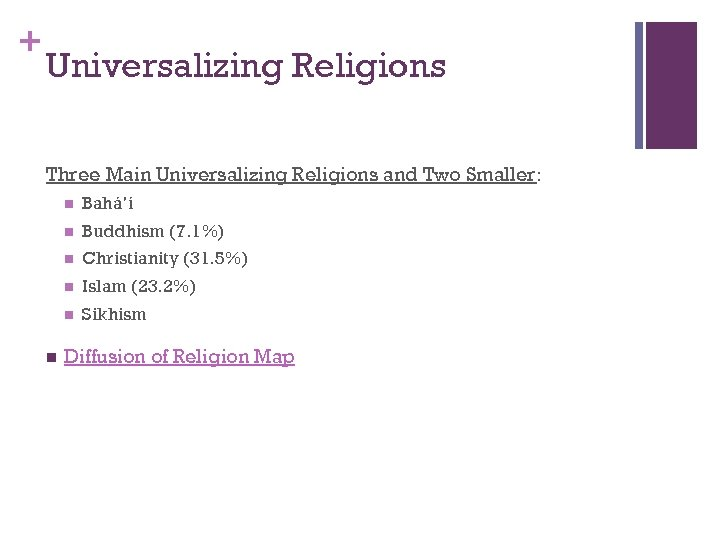 + Universalizing Religions Three Main Universalizing Religions and Two Smaller: n n Buddhism (7.